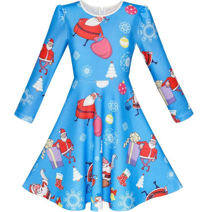 Girls Dress Blue Santa Jingle Bell Christmas Tree Long Sleeve Age 5-12 Years