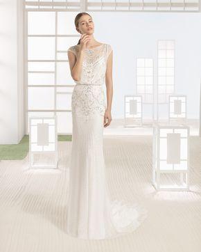 WIMOR vestido novia en color natural/plata y marfil.