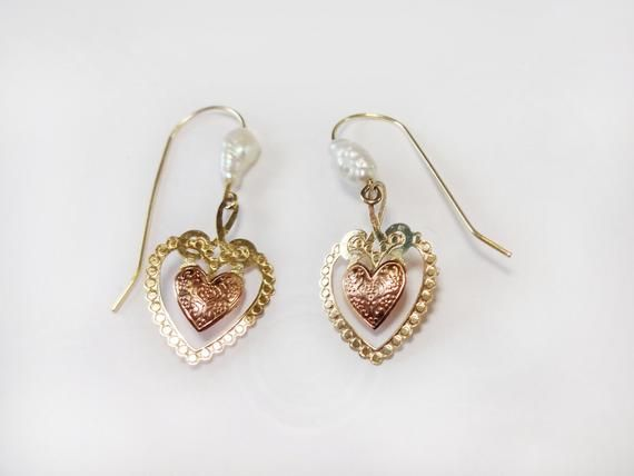 14k Gold Heart Earrings Valentines Day