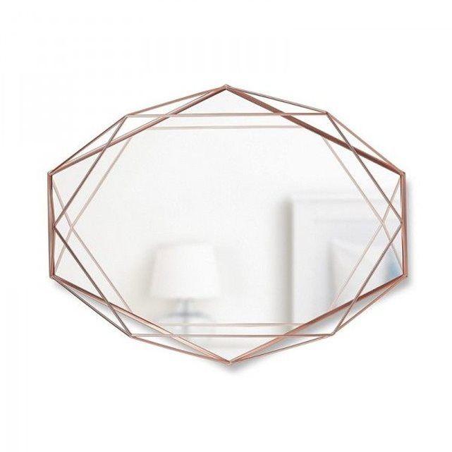 Miroir mural graphique géometrique  cuivré Umbra Prisma UMBRA