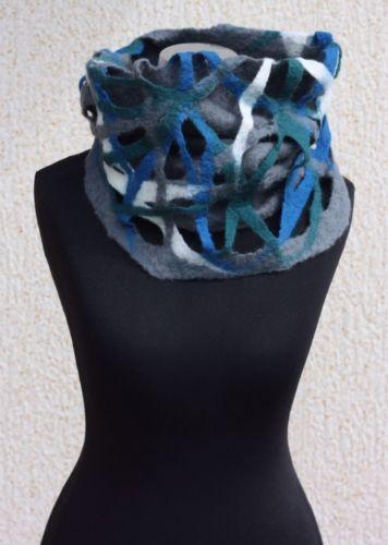 Unique handmade felted grey merino wool neck warmer