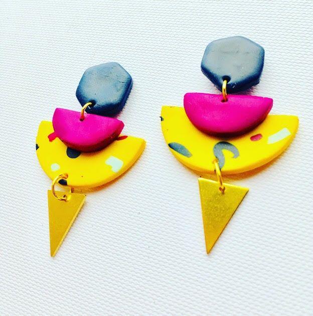 Colourful Geometric Earrings. Handmade Polymer Clay Earrings. Unique. Semi Circle. Brass. Purple. Yellow. Blue. Gold. Confetti earrings. Memphis earrings. 80s earrings. Retro earrings.