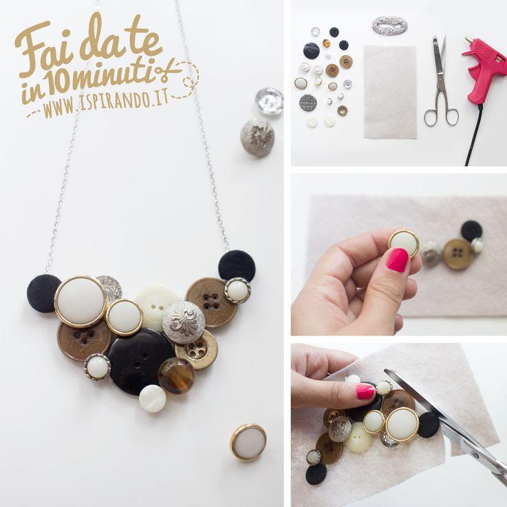 Come creare una collana con i bottoni fai da te | How create a DIY necklace with buttons recycle • #DIY #necklace #buttons #recycle