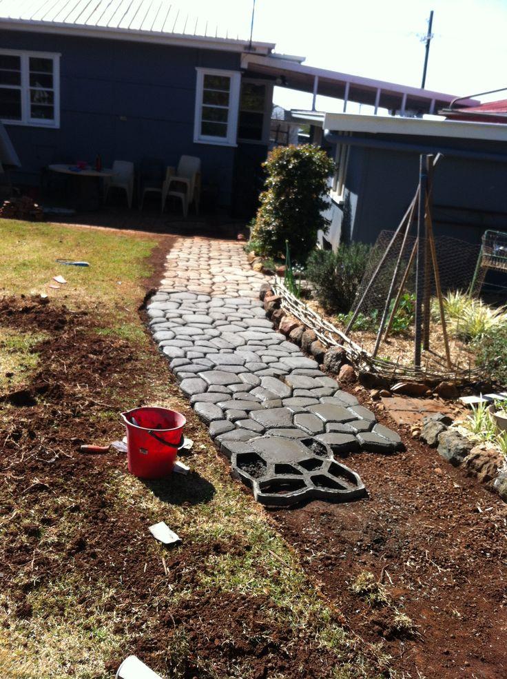 Diy coblestone paver maker paving new path toowoomba for Landscaping ideas australia