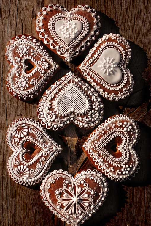 Lacy iced gingerbread hearts.
