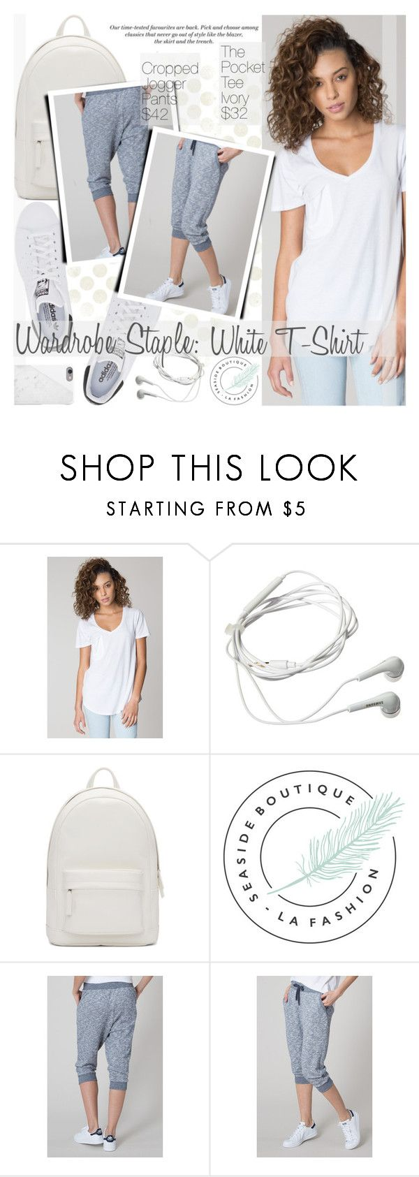 """Wardrobe Staple:White T-Shirt"" by pokadoll ❤ liked on Polyvore featuring Samsung, PB 0110, H&M, Native Union and seasideboutique"
