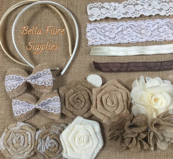 Burlap Headband Kit Vintage Headband Kit by BellaFioreSupplies