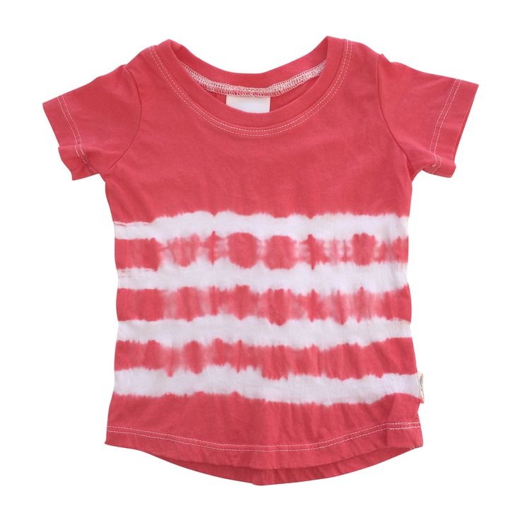 Tie Dye Grenadine Red Short Sleeve T-Shirt Beautifully soft, Grenadine Red hand dyed T-shirt made out of organic cotton Each of our hand-made tie-dye garments are unique and although they are very similar they will never be identical. The smaller sizes have 4 stripes (SIZE 0 & 1) across the body and on the larger (SIZES 2,3,4,5,6) we managed to squeeze in 5 stripes!