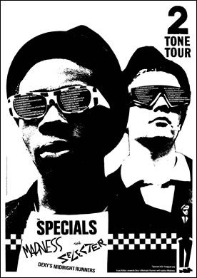 """2 Tone tour poster. """"Stop ya messin' around (ahhahhahh)  - Better think of the future (ahhahhahh)"""""""