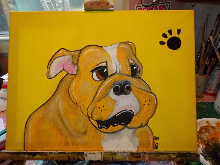 Puppy pawprints Bully dog Oil on canvas 30cm x 40cm £25.00 + £3.50 P&P