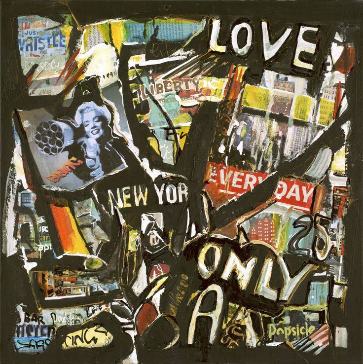 """""""Love NYC"""" Original by Lucette Dalozzo Acrylic/Collage on Canvas 50 x 50cm Limited Edition Giclee Canvas Prints also available."""