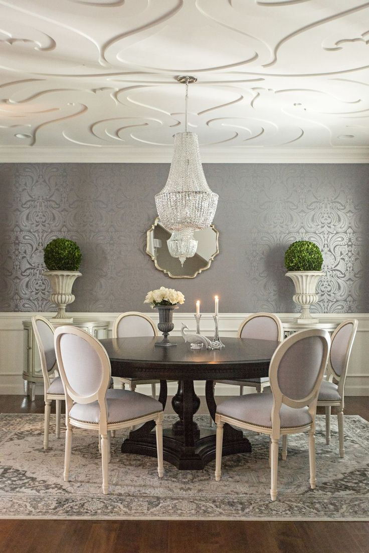 **ceiling And Walls*** Grey U0026 Ivory Dining Room, Dark Pedestal Table, White  Louis Chairs With Nailhead Trim, Oriental Rug