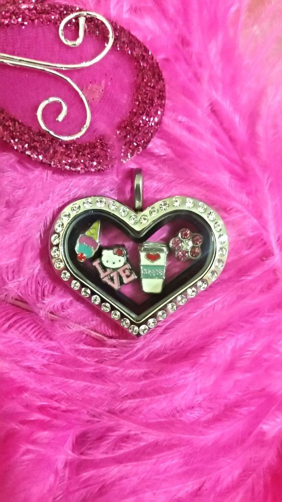 Beautiful 316 stainless steel czech crystal heart floating locket with zinc allo
