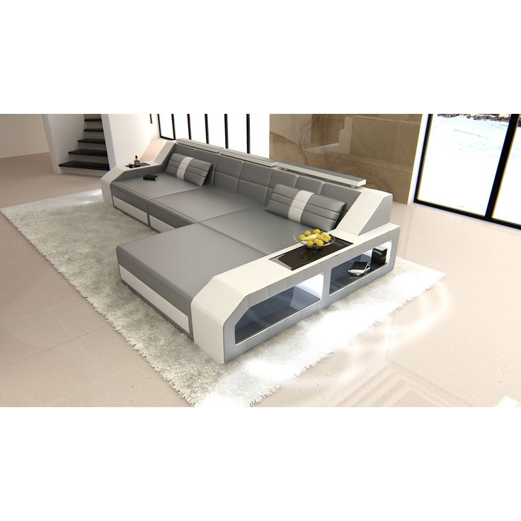 Modern Sectional Sofa Houston LED Lights L  Form (Sectional Sofa), Grey (