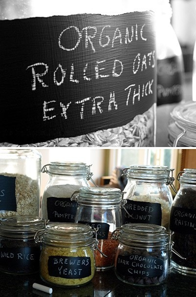Use  a  paint brush and black board paint to label your glass jars, what a neat idea