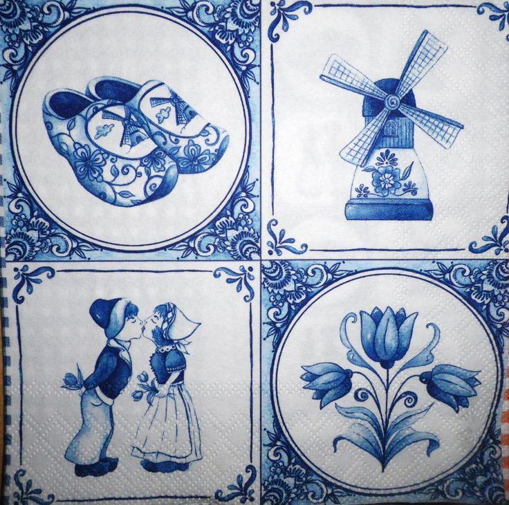 serviette papier d co pays hollande carreaux bleus de delft n 2 rare serviettage. Black Bedroom Furniture Sets. Home Design Ideas