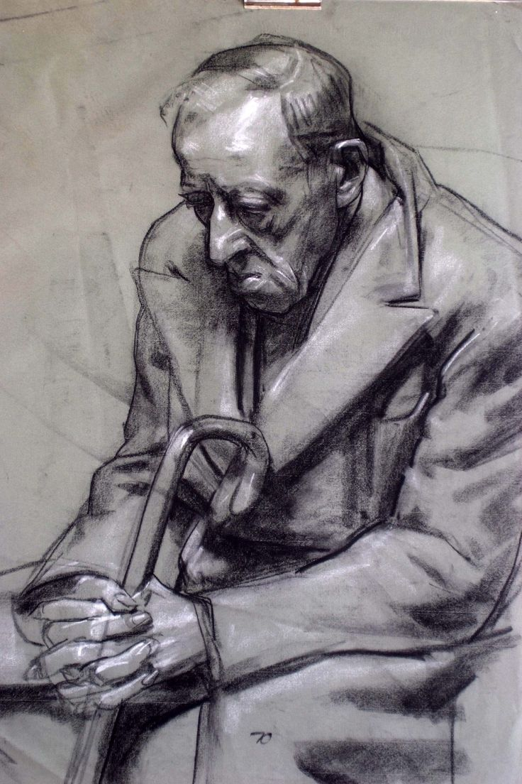 Robert Hannaford (1944 - ) | Hans-charcoal-and-chalk-1969 | Artist's friend || Whilst living in Melbourne '69 - '73 I met and drew an old man called Hans Kreffle who lived in an old folks home nearby.   He was a ww1 German army veteran before jumping ship in Australia in the 1920's.   We became life friends until his death in 1975.