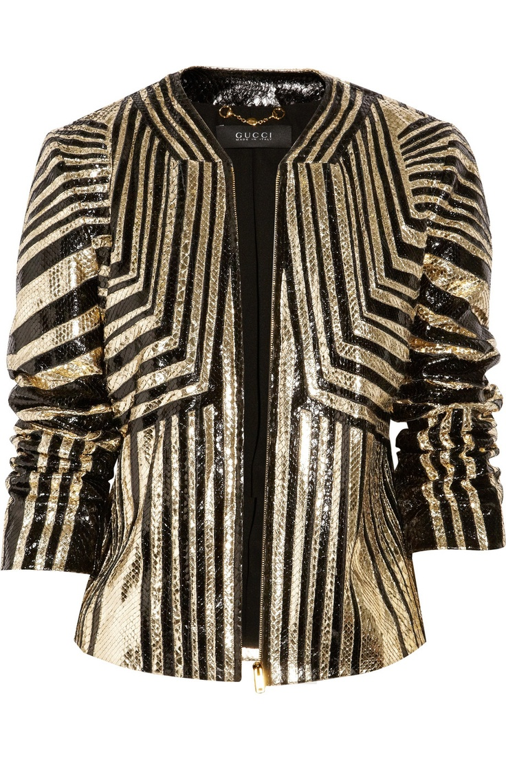 GucciStyle, Gucci Stripes, Gucci Python, Python Jackets, Girls Fashion, Black Gold, Stripes Python, Clothing Outerwear Outfit, Gucci Gold