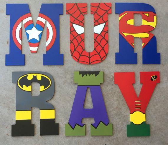 Letras de madera de superhéroe superhéroe cartas, cartas personalizadas, superhéroe Decor, decoración de habitación de niños, Letras de madera de superhéroe, superhéroe iniciales