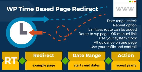 WP Time Based Page Redirect . WP has features such as Software Version: WordPress 4.5, WordPress 4.4.2, WordPress 4.4.1, WordPress 4.4, WordPress 4.3.1, WordPress 4.3, WordPress 4.2, WordPress 4.1, WordPress 4.0, WordPress 3.9, WordPress 3.8, WordPress 3.7