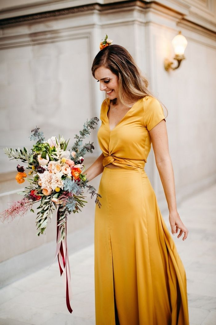 Jessica and Karl's San Francisco City Hall Wedding (The bride made this gorgeous yellow dress!)