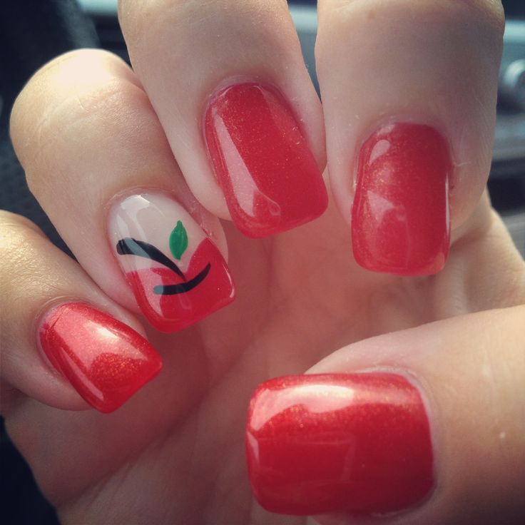 Back to school teacher nails! Apples :-)