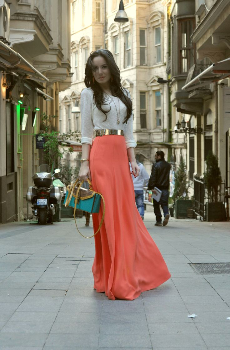 coral and white: Fashion, Style, Color, Maxis, Outfit, Maxi Skirts