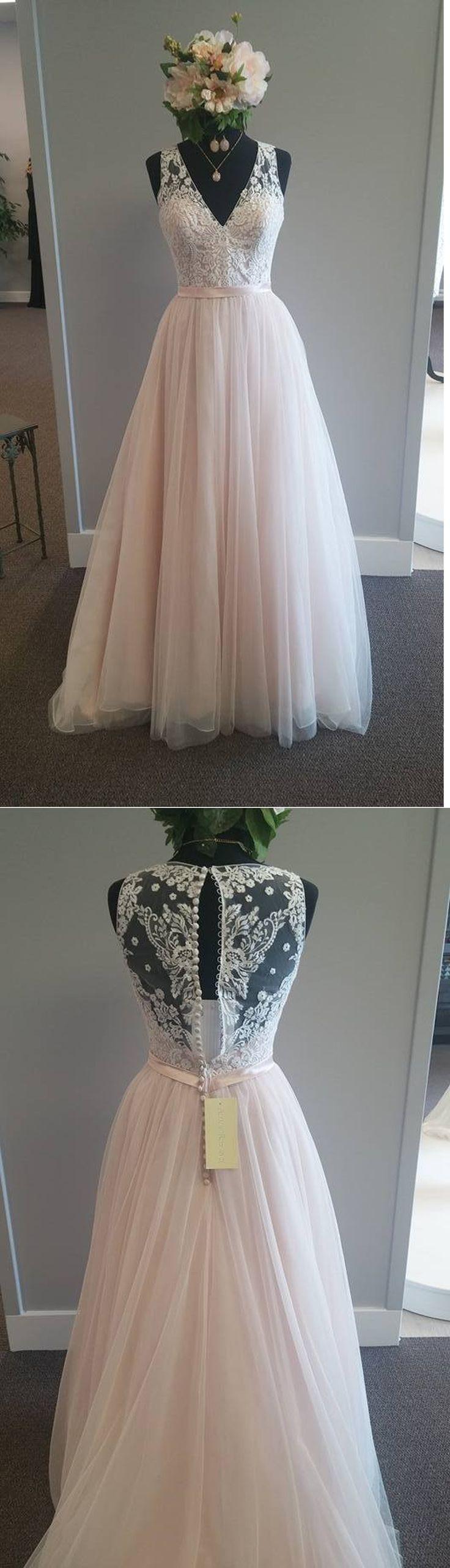 A-line Wedding Dresses,Elegant Wedding Gown,Light Pink Wedding Dresses,V-neck Bridal Gowns,See Through Wedding Dresses,Plus Size Wedding Dress,Wedding Dresses,SUE78