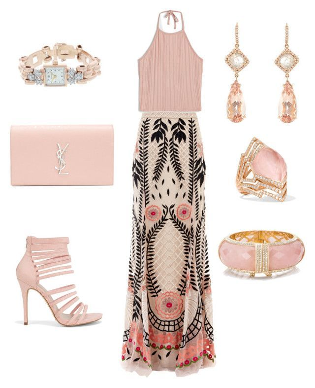 """""""Garden Wedding Guest Outfit"""" by ghadalog on Polyvore featuring Temperley London, Monki, New Look, Yves Saint Laurent, Rolex, NSR Nina Runsdorf, Stephen Webster and Kate Spade"""