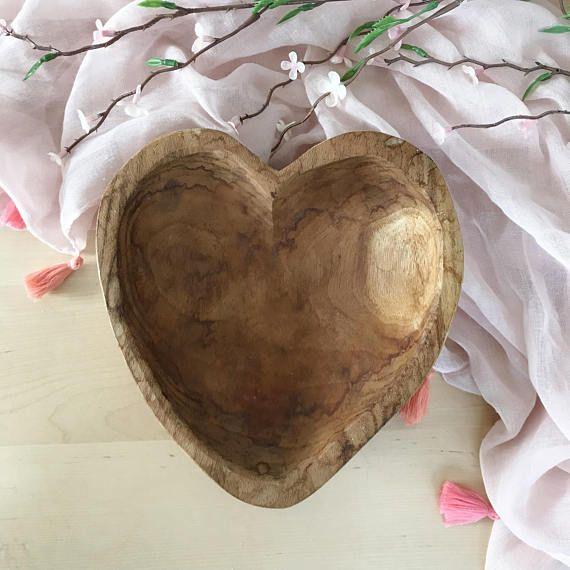 Vintage Hand Carved Wood Bowl Wood Heart Dish Valentines Wood Bowls Carving Wood Bowls Hand Carved Wood