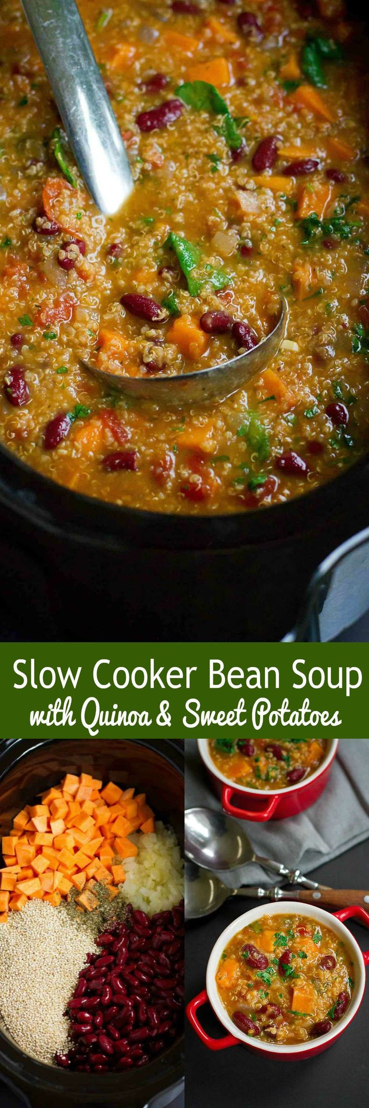 This Slow Cooker Bean Soup with Quinoa and Sweet Potaotes is packed with fiber and flavor. Throw everything in the crockpot and walk away! 218 calories and 6 Weight Watchers SmartPoints