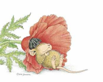 """""""Poppy Cot"""" from House-Mouse Designs®. This image was recently purchased as a set of address labels. Click on the image to see it on a bunch of other really """"Mice"""" products."""