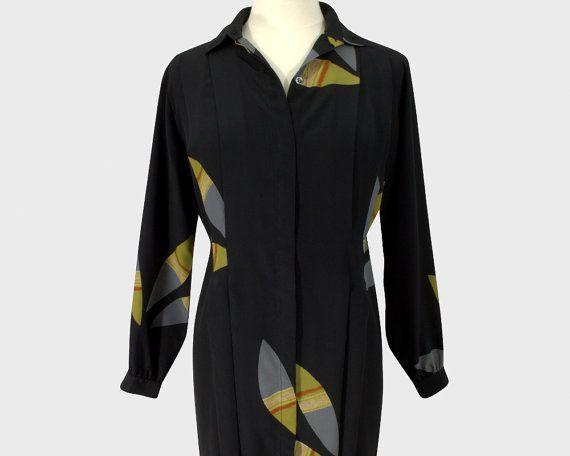 Shakira by Portegaz Vintage 1980s Shirt Dress Black Silk
