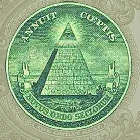 """The all-seeing eye floating in over an unfinished pyramid is the most widely recognized symbol of the Illuminati. The """"Illuminati logo"""" is seen on the US one dollar bill, the world's most-widely circulated banknote, and it is increasingly seen in movies, on television and other media. It has come to be recognized as the preeminent logo of the all-powerful and secretive Illuminat"""