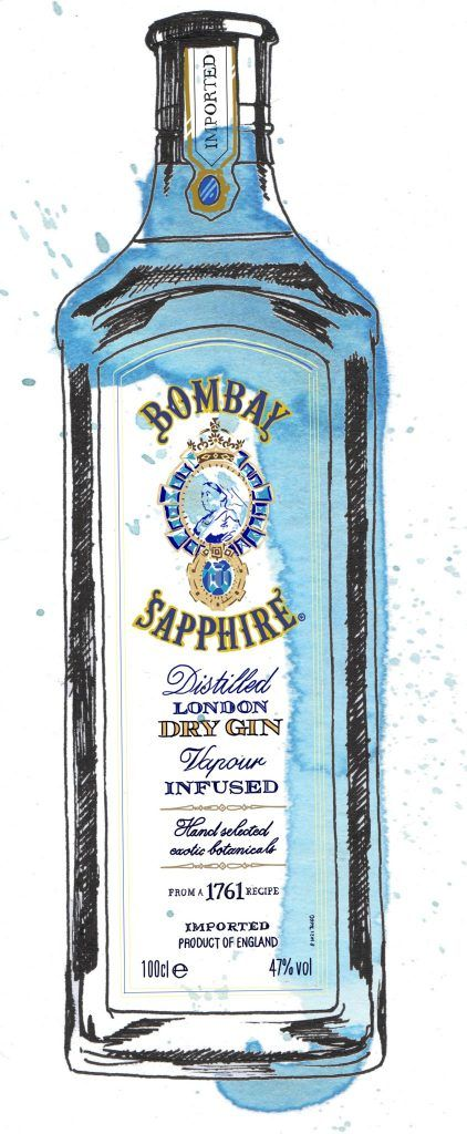Bombay Sapphire Gin Bottle Watercolour Illustration. Click the 'visit' link to commission your own choice of gin illustrations