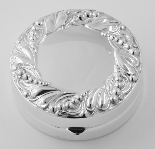 Sterling Large Round Pillbox Antique Border Made in USA $174.00