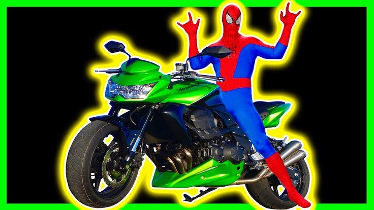 Spiderman ride Bike in Real Life w/ Fun Superheroes Adventure