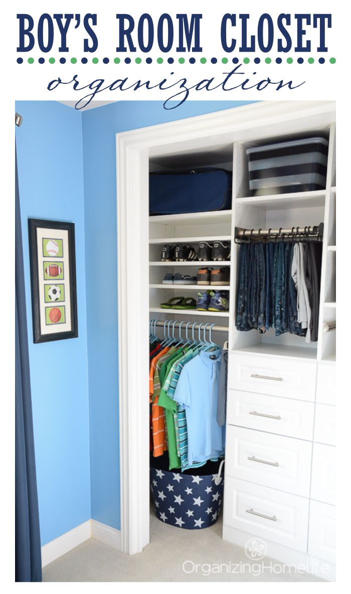 Tween Boy's Room Organized Closet Reveal