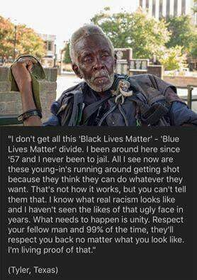 "This man is an inspiration to us all! So tired of ""blah blah lives matter"". Life matters so do the choices WE make! Get over this ""handicap fad"" n be productive in this dying world!!!"