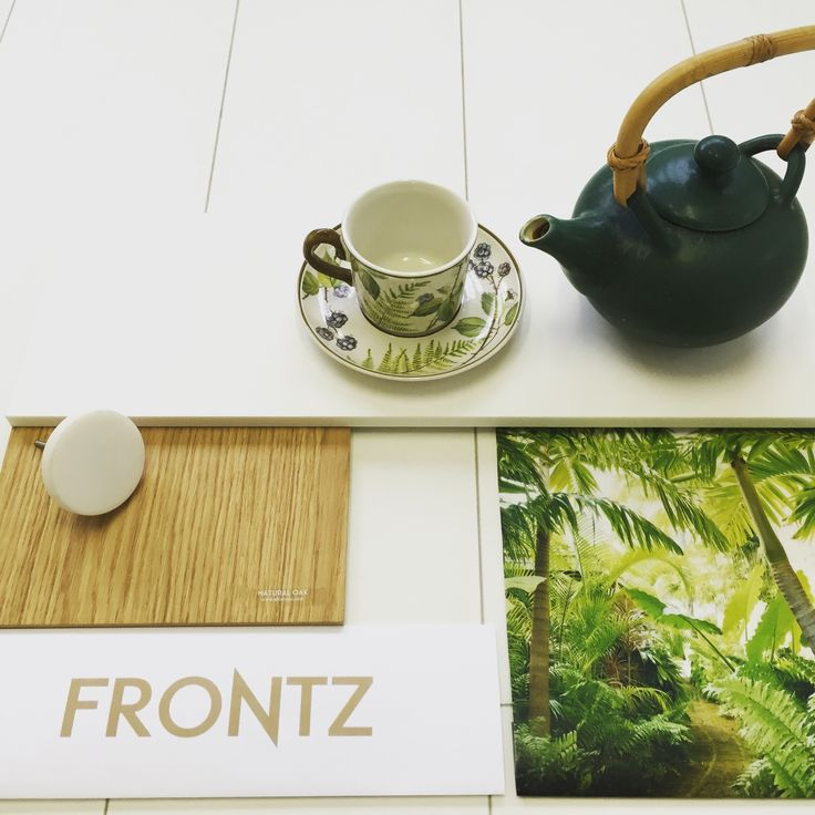 FRONTZ - #moodboardmonday, natural oak #fronts with white #corian #top, #marble knob and green accessories.