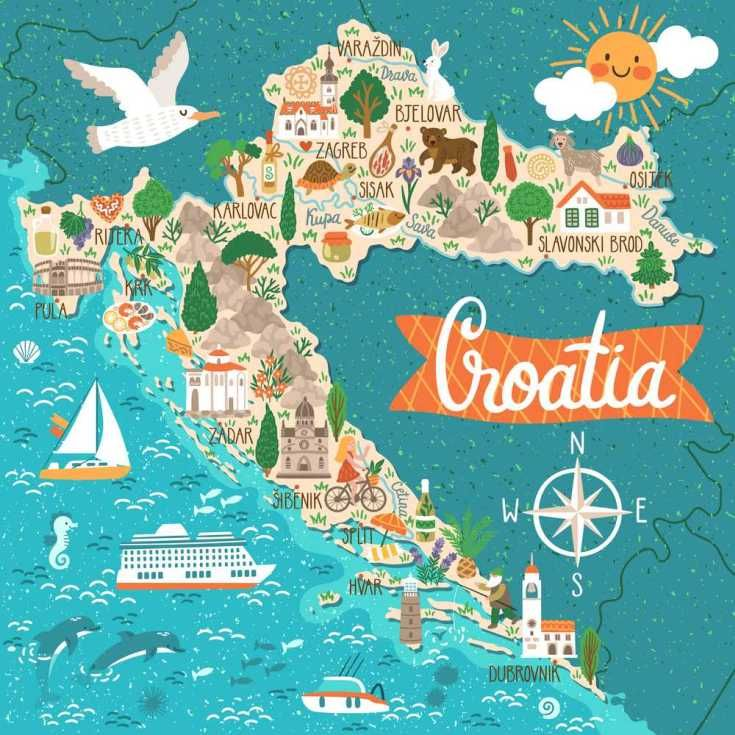 Croatia Is The Closest Destination To The Mediterranean Sea In The Central Europe Croatian National Parks Are K Croatia Map Travel Infographic Illustrated Map