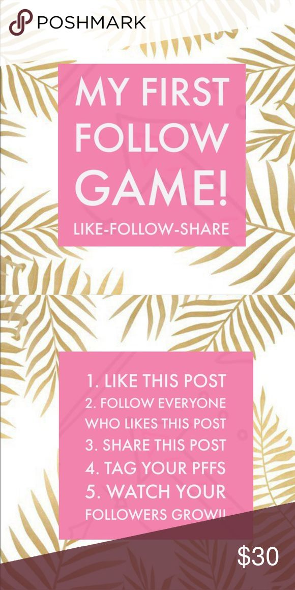 My First Follow Game!!! Hello beautiful Poshers! This is my very first follow game so please spread the word and tag your PFF's!!💁🏻👯💖 Thanks for all your support🎉🎊 💜💙Tags: Pink Victoria's Secret Anthropology Nike Asos Topshop Kate Spade Michael Khors Adidas Lululemon follow game share group jewelry accessories 💜💙 PINK Victoria's Secret Other