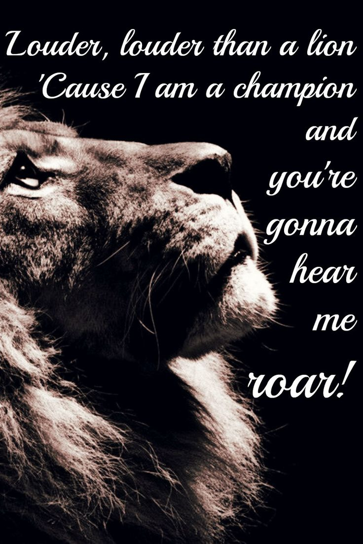 I Am A Champion And Youre Gonna Hear Me Roar Roar by Katy Perry. Ly...