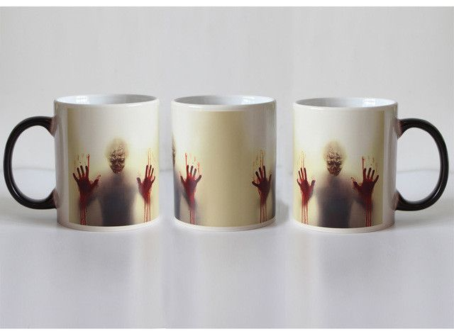 Newest Design Zombie Color Changing Coffee Mug Heat Senstive Magic Tea cup Mugs Walking Dead Bloody hands gift