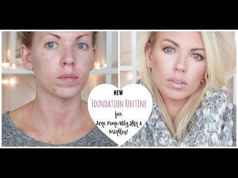 ♡ Full Coverage Foundation Routine for Wrinkles & Acne Prone Skin ♡ - YouTub...