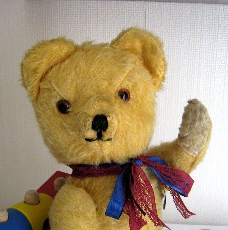 Vintage mohair Teddy Bear 1950's golden with squeaker. $45.00, via Etsy.
