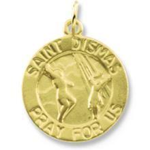 St Dismas Round Yellow Gold Medal - All Patron Saints