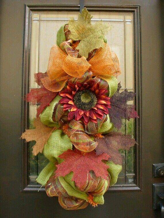 XXL Burlap Door Wreath Fall Wreaths Burlap Daisy By LuxeWreaths