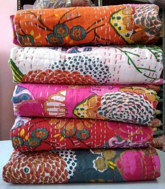 Hand Quilted Patchwork Bedding Bedspread Indian Throw Queen Cotton Kantha Quilt