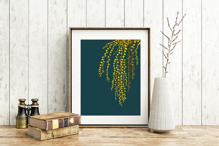 String of Pearls Yellow and Blue - Botanical wall art print by purdeybarcelona on Etsy